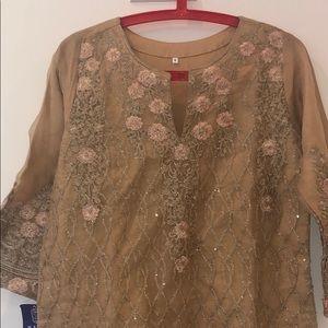 NWT Pakistani Indian kurta+Duppata-Small Gold